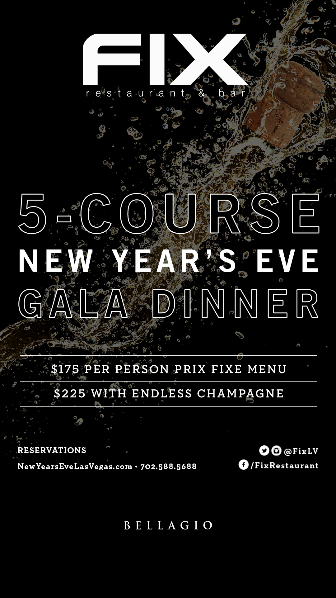 New year 39 s eve dinner fix restaurant bar las vegas for What to make for new years eve dinner