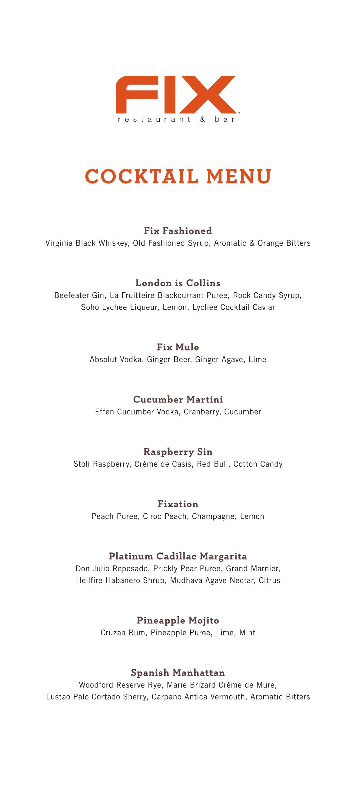 Fix Las Vegas Cocktail Menu
